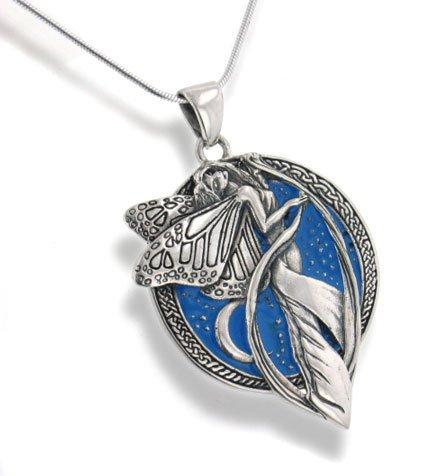 Sky Blue Snake - Sterling Silver Sky Blue Moonlight Fairy Celtic Art Pendant 18