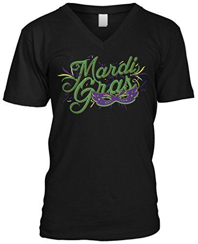 Blittzen Mens V-neck T-shirt Mardi Gras with Mask, M, Black (Mardi Gras Fashion)