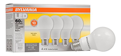 SYLVANIA, 60W Equivalent, LED Light Bulb, A19 Lamp, 4 Pack, Soft White, Energy Saving & Longer Life, Medium Base, Efficient 8.5W, 2700K ()