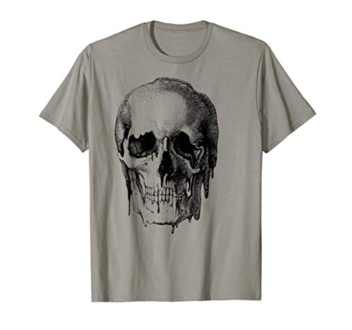 Melting Skull Etching Edgy Graphic T-Shirt