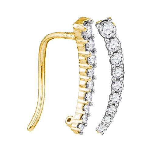 10kt Yellow Gold Womens Round Diamond Graduated Journey Climber Earrings 1/4 Cttw (Diamond Journey Earrings Round)