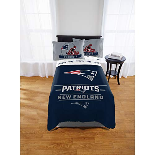 1 Piece NFL Patriots Comforter Twin/Full, Blue White Football Themed Bedding Sports Patterned, Team Logo Fan Merchandise Athletic Team Spirit Fan, Polyester, For Unisex