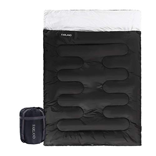 20 Degrees ℉ Double Sleeping Bag for Backpacking, Camping, Or Hiking. Queen Size XL! Cold Weather 2 Person Waterproof Sleeping Bag for Adults Or Teens. Truck, Tent, Or Sleeping Pad, Lightweight