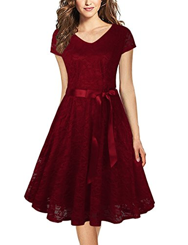 Faddare Sleeveless Dresses,Short Sleeve Beach Holiday Summer Dress for Women,Wine Red 2XL (Semi Style Spring)