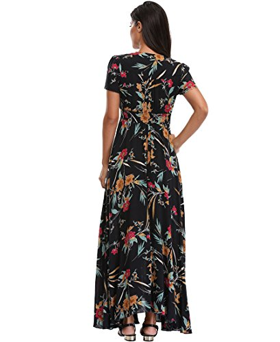 amp;floral Button Black Floral Flowy up BestWendding Swing Dress 3 Women Beach Long Party Maxi Dresses Boho Split Summer aSqxXR