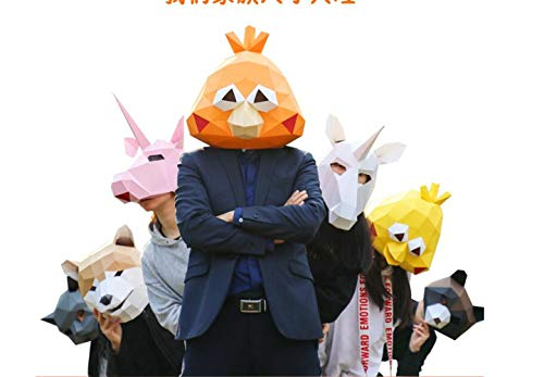 MostaShow 3D Paper Mask Animal Head Molds DIY Handwork Halloween Party Costume Cosplay Party Tricky Funny Masks -