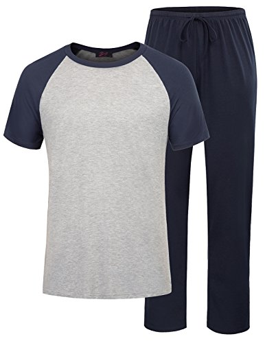 Mens Pajamas Set Two Piece Knit Modal Tee Elastic Waist Pants Nightwear Size XL Navy-Grey