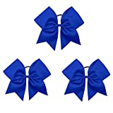 Oaoleer Boutique Teens Women 8' Jumbo Large Blue Cheer Bow Ponytail Holder Elastic Band Handmade for Cheerleading Teen Girls College Sports (Item Package Quantity: 3)