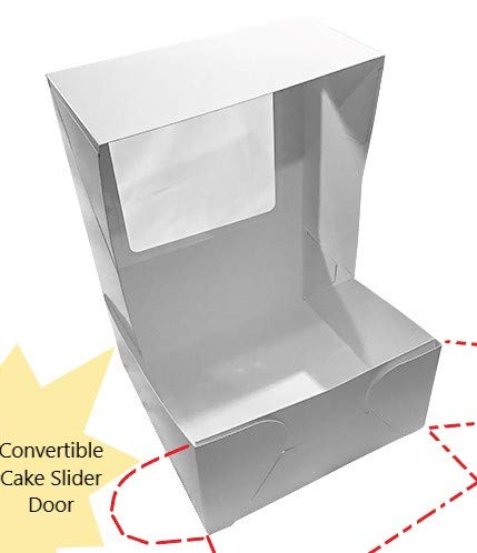20 Count Sturdy White Cake Boxes 10x10x5 Inch with Window in Bulk by Sabba Products (Image #3)