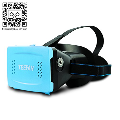 TEEFAN Plastic Version Magnet Function Adjustable Pupil Distance Google Cardboard 3D VR Headset 3D Virtual Reality Kit Game Movie Video Glasses for iPhone Samsung HTC Nexus LG with Full Amount Headband (Blue)