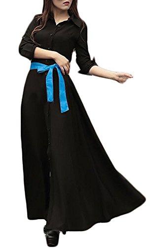 Nero Donna Casual Con Abito Primavera Vestito Autunno Lunga Vestiti Colore Bavero Puro Camicia Eleganti Lungo Larghi Manica Bottoni qw0Trq