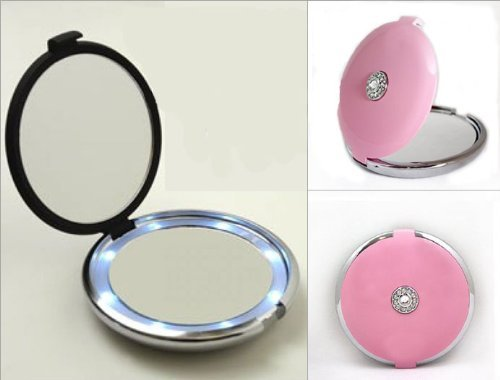 Pink Lighted LED Jeweled 10X/1X Compact Mirror with Crystals with Stainless Steel Slant Tweezer ()