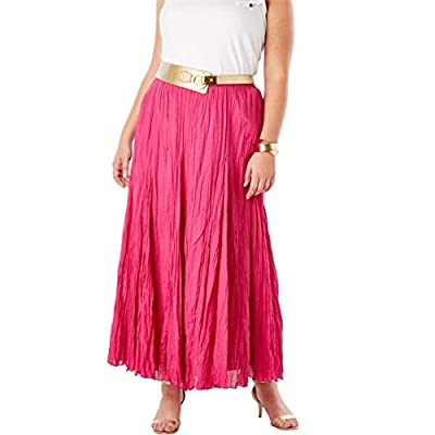 Jessica London Women's Plus Size Cotton Crinkled Maxi Skirt