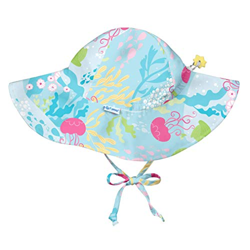 (i play. Baby Girls' Brim Sun Protection Hat, Aqua Coral Reef, 0-6 Months)