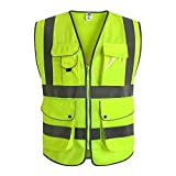 JKSafety 9 Pockets Class 2 High Visibility Zipper Front Safety Vest With Reflective Strips, Yellow Meets ANSI/ISEA Standards (XL, Yellow)