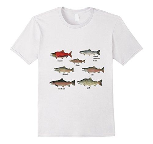Chum Salmon (Mens Salmon Variety t-shirt Coho Pink Sockeye Chum Steelhead Large White)