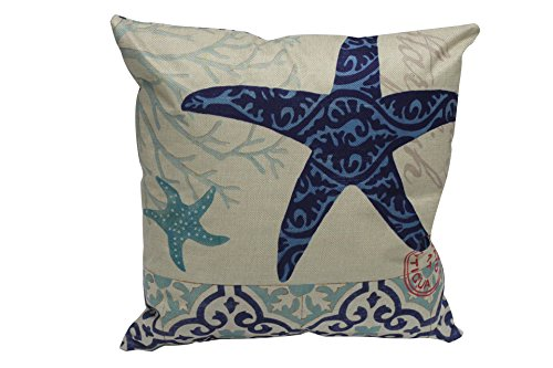 Starfish Linen (oFloral Cotton Linen Square Mediterranean Sea Decorative Throw Pillow Case 18