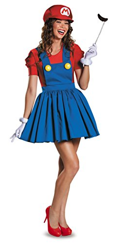Mario Luigi Womens Halloween Costumes (Disguise Women's Mario Skirt Version Adult Costume, Red/Blue,)