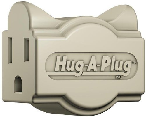 Hug-A-Plug Grounded Right Angle Adapter Plug - Ivory [15a 125v Current Tap]