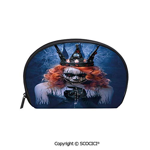SCOCICI Printed Small Size Storage Makeup Bag Queen of Death Scary Body Art Halloween Evil Face Bizarre Make Up Zombie for Women Girl Ladies]()