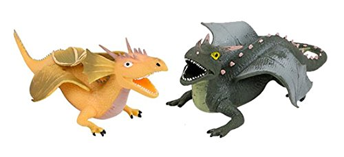 LightShine Products 2 Piece Rubber Squishy Stretchy Dragon Toy Figures Bundle (Yellow & Dark Green)