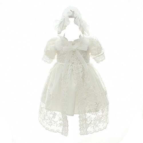 Coozy Baby Girl Christening Baptism Gowns Toddler Princess Wedding Special Occasion Dress 3Pcs Outfits (Ivory, 3M/0-6months)