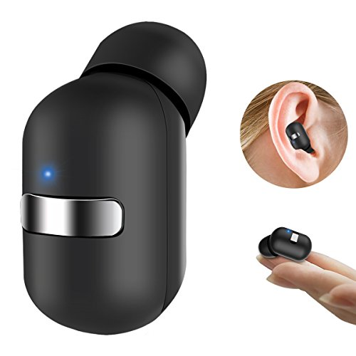 Bcway Bluetooth Headphones, V4.1 Mini Wireless Earbuds with Mic Invisible Car Headset [Magnetic USB Charger] Lightweight Single In Ear Earphone with Customizable Eartips S/M/L(One Piece) (Black) by Bcway
