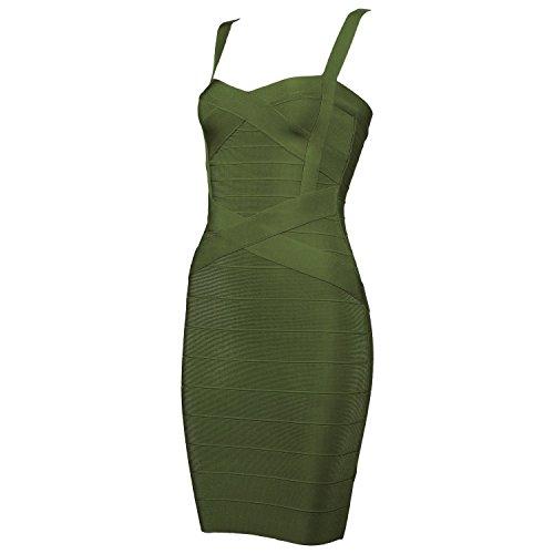 Olive Bodycon Neck Party Cocktail Bandage Dress Strap V Women's Spaghetti 7q5w0zgf