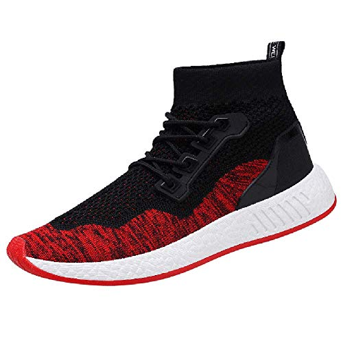 HYIRI Gym Shoes Socks Shoes,Fashion Men High Help Soft Sole Running Shoes Red