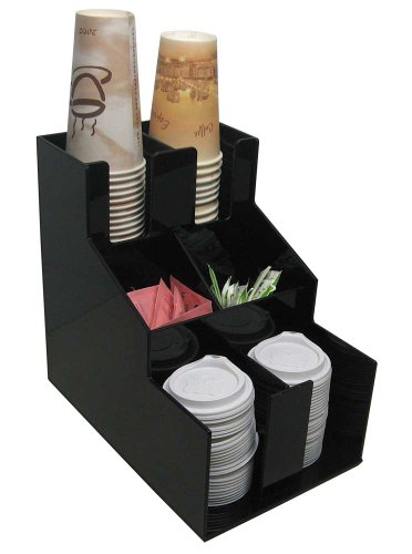 Vertical Condiment and Coffee Cup & Lid Dispenser 2 Wide Stirrer, Sugar Cup Caddy Organize and Display Your Coffee Counter with Style (1010-2)