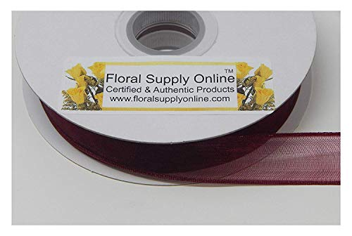 Bows 5/8 Scrapbooking Ribbon - #3 Monofilament Edge Sheer Organza Ribbon for Floral, Fashion, Craft, Scrapbooking, Gift Wrapping, Hair Bows, Wedding, Baby Shower, and Decorating Projects. (5/8 Inch x 25 Yard, Burgundy)