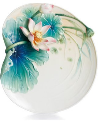 - Franz Lotus Harmony Design Sculptured Porcelain Dessert Plat