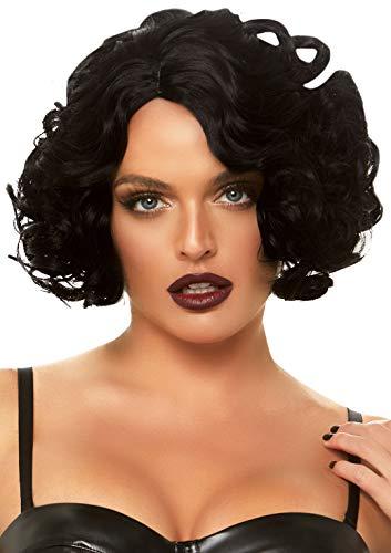 Leg Avenue Women's Pastel Curly Bob Wig, Black, One Size
