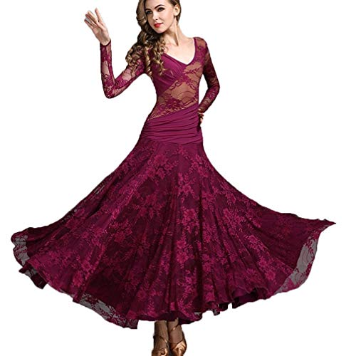 (Women's Ballroom Dance Dresses Waltz Tango Big Swing Long Sleeve Lace Dance Performance Dress Competition Dresses Skirt (Color : Fuchsia, Size : L))
