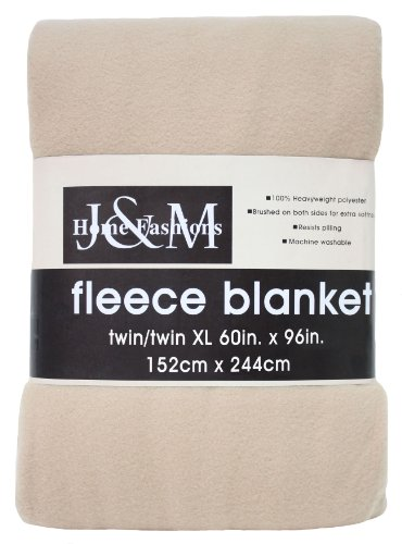 J&M Home Fashions Luxury Solid Fleece Blanket Throw, Twin/Tw