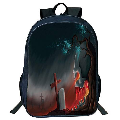 Print Black Double-deck Rucksack,Halloween,Graveyard Cemetery Tree with Evil Skull Tomb Stone Cruciform Creepy Fantastic Decorative,Multicolor,for Kids,Pictures Print Design.15.7