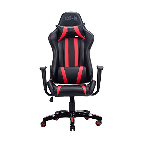 CO-Z Ergonomic PC Gaming Chair, High-back Comfortable Racing Style Executive Swivel Office Computer Desk Chair with Removable Lumbar Support and Headrest (Red)