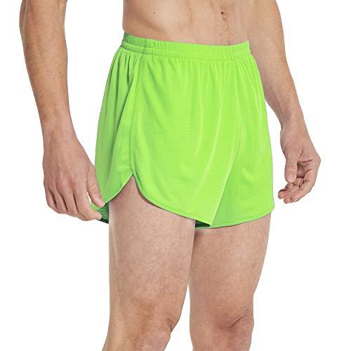 Baleaf Men's Quick-Dry Lightweight Pace Running Shorts Neon Green Size S (Womens Split Running Shorts)
