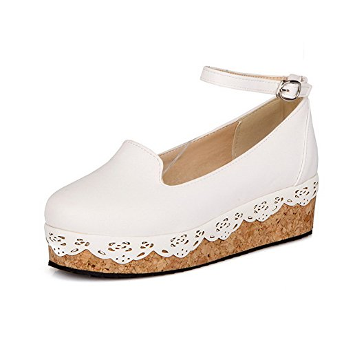 AllhqFashion Womens Solid PU Low Heels Round Closed Toe Buckle Pumps-Shoes White aEkG6