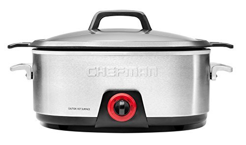 Chefman, Slow Cooker with Die-Cast Insert, Stainless Steel by RJ Brands