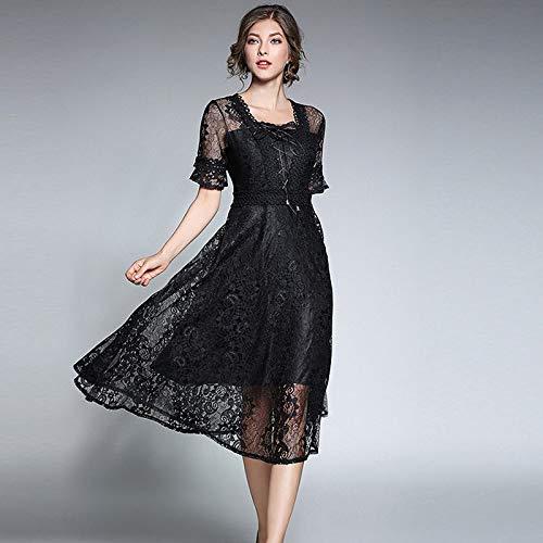 Sombre QUNLIANYI Robe Longue Gatsby Le Magnifique Robes De Dentelle Noire Courte Flare Manches Avant Lace-Up Robe Femmes Sexy évider Floral L
