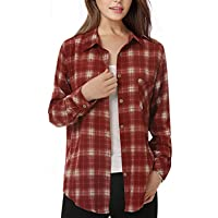 Mixfeer Women's Long Sleeve Plaid Button Down Boyfriend Shirt