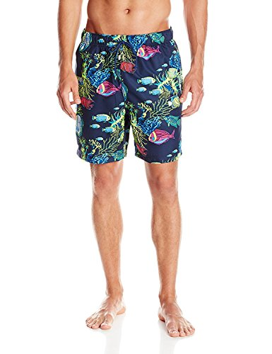 Nautica Print Trunk (Nautica Men's Fish Print Swim Trunk, Navy, Medium)