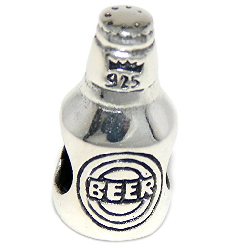 Beer Silver Sterling (Pro Jewelry 925 Solid Sterling Silver Beer Bottle Charm Bead)