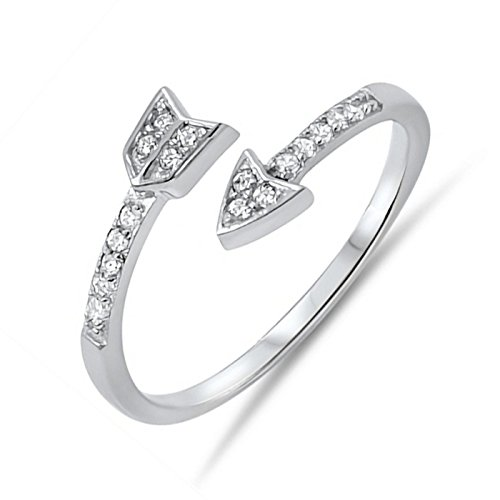 8mm Band Womens 925 Sterling Silver Cubic Zirconia Arrow Design Wraparound Ring Size 10 (Wrap Arrow Ring)