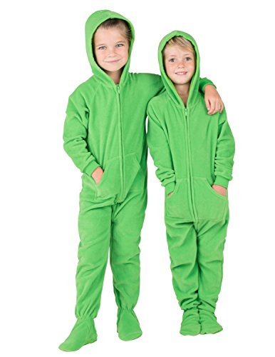 Footed Pajamas - Emerald Green Toddler Hoodie Fleece Onesie - -