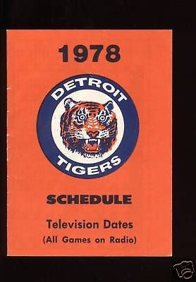 Mlb Baseball Schedule (1978 Detroit Tigers MLB Baseball Schedule MINT)