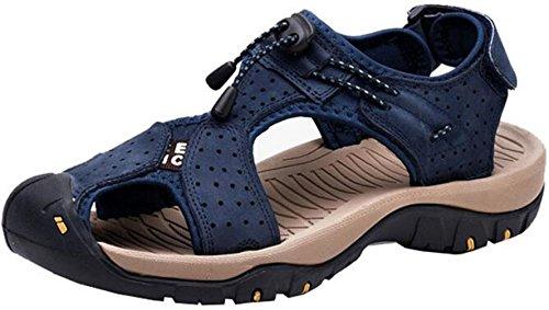 Ppxid Mens Sandali Da Trekking In Pelle Per Esterni Sandali Sportivi Da Spiaggia Blu
