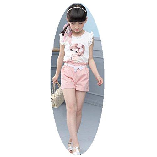 FTSUCQ Girls Beauty Printed Sleeveless Shirt Top + Shorts + Belt,Pink - Balance Check Gift Voucher