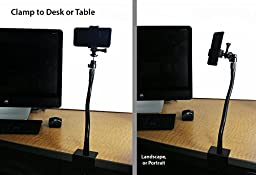 Livestream® Gear - Heavy Duty Screw Clamp Mount for Smartphone, or Sport Camera. Great for Streaming or Recording Video. Use for Music Mount, Desk Mount, Table Mount. (Heavy Duty Flex)